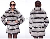 New Arrival Women's genuine rex rabbit fur coat Jacket Chinchilla style   warm coats  Wholesale Retail OEM