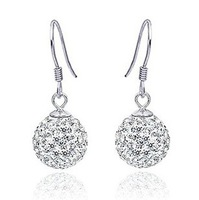Free shipping  MSF brand fashion ball earring AAA swiss crystal & 925 silver & platinum female drop earrings jewelry
