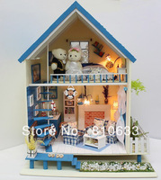 Christmas gift diy wood small house girls gift toy romantic aegean sea