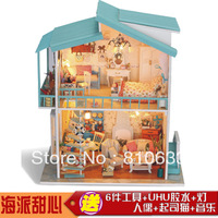 Free shipping Diy housing sweetheart handmade wooden house toys model oversized tools