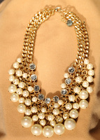 Fashion simulated-pearl double layer women's short design necklace wholesale charms TN-24.49