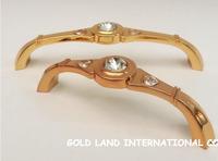 96mm Free shipping K9 crystal glass 24K golden furniture handles