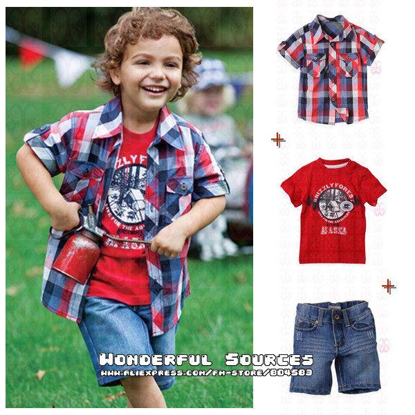 5sets/lot free shipping new arrival Boys summer casual clothing suits(short shirt+short t-shirt+denim short pants) baby garment(China (Mainland))
