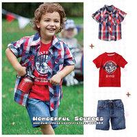 5sets/lot free shipping new arrival Boys summer casual clothing suits(short shirt+short t-shirt+denim short pants) baby garment