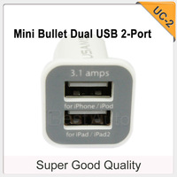 New! Large capacity 3.1A car charger Micro Bullet Dual USB 2-port for iPhone/iPad/iPod 5pcs/lot free shipping