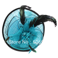 25*23.5mm sinamay fascinator hats nets yarn feathers sinamay bridal fascinator for kentucky derby hat free shipping HA627a