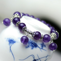 Tibetan Silver Amethyst Bracelets Bangles Purple Elegant Jewelry Gift For Women Drop Shipping 092