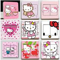 Free shipping 9*9cm 30 pcs/lot Cartoon switch sticker DIY hello kitty socket sticker Mixed Order Random delivery