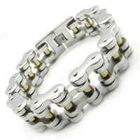 21MM Huge&Heavy Men's Boy's Biker Gold Silver Polishing Chain Motorbike Bracelet 316L Stainless Steel Bangle Charm New Gift