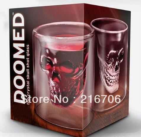 84pcs/lot Wholesale Doomed Crystal Skull Shot Glass/Crystal Skull Head Vodka Shot Wine Glass Novelty Cup Drinkware Mugs(China (Mainland))