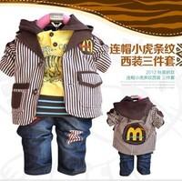 2015 Children's Clothing Male Child Spring And Autumn Cartoon Sweatshirt Jeans Blazer Baby Three Pieces Set 1 - free Shipping