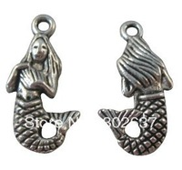FREE SHIPPING 120pcs Tibetan silver beautiful mermaid charms A8997