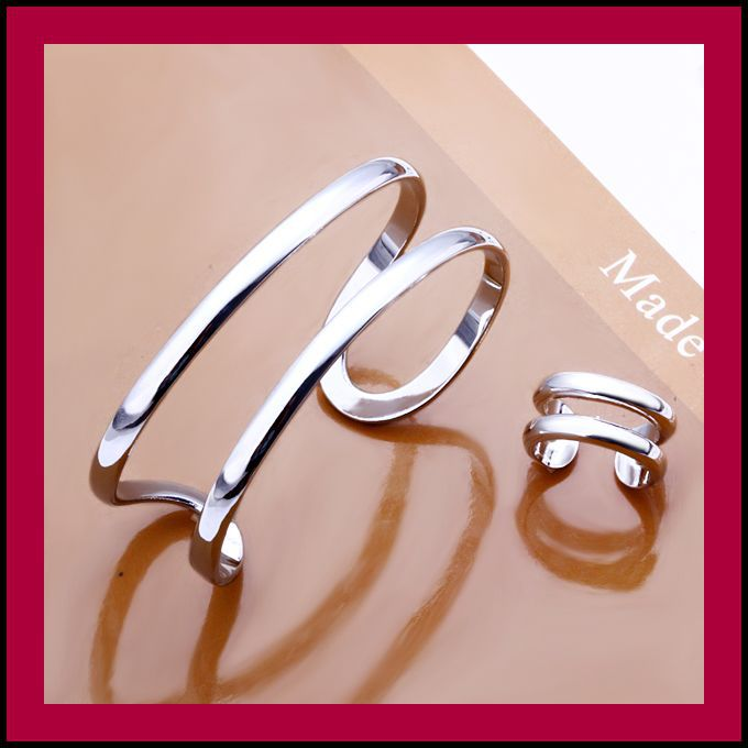 Min. Order=15USD(Mix Items) Fashion 925 Silver Two Lines Bangle / Ring Set Jewelry for Women.TOP Quality,Free Shipping(China (Mainland))