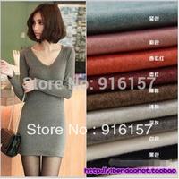 New  Women's long sleeve V-neck Grinding Wool Cotton Long T Shirt Dress, Casual Dresses  Free Shipping
