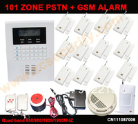Free shipping home intruder GSM alarm system 101 zone LCD with 12 door sensor and smoke fire alarm