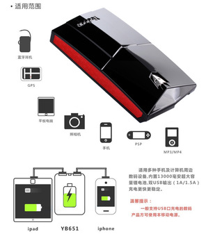 free shipping Yooboo  YB651 Double USB 13000 mah mobile power supply for iphone ,Samsung, HTC, nokia, blackberry