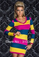 2013 Free Shipping Sexy Long Sleeve Hot Colored Strips Dress Yellow and Pink and Blue Sexy Mini dress M95