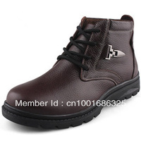 Fashion new designer men genuine leather Camel cotton-padded boots,male high thermal plus wool plus size male cotton-padded shoe