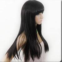 Beautiful new fashion long straight black wig