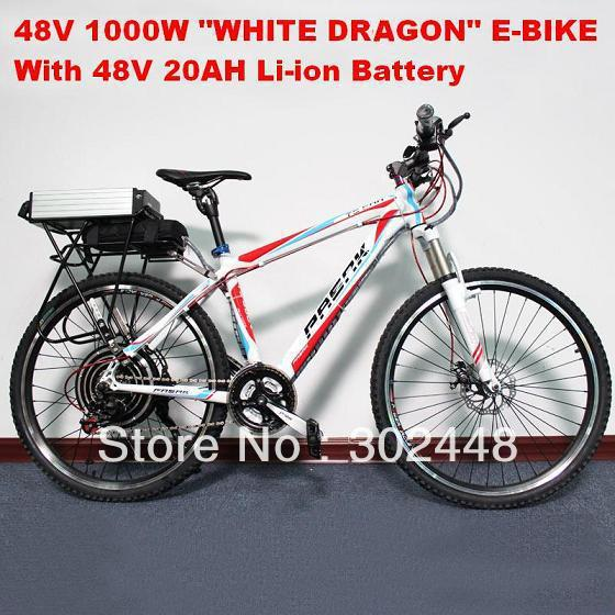 Off Road Electric Bicycle, 2013 Latest 48V 1000W Electric Bike with F/R Disc Brake, with Adjustable and Locable Front Suspension(China (Mainland))