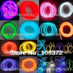Free Shipping Wholesale 10PCS/Lot 100m 5mm Flexible Red/Yellow/Lemon/Pink/Green/Blue/Purple Neon Light Glow EL Wire Rope Tube(China (Mainland))