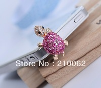 2014 Time-limited Sale Rhinestone Turtle 3.5mm Anti Dust Plug Charm Dp68 for Iphone 50pc/lot with Mixed Colors Free Shipping!