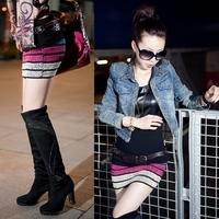 2012 autumn women's stripe slim hip skirt fashion all-match butt-lifting bust slim waist short skirt