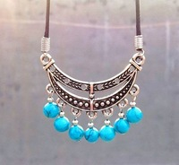 Min Order $15 Xmas Stylish Leather Cord Tibetan Silver Turquoise Bead Tassels Pendant Necklace Moon boat gem Women 1pcs