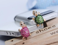 Free shipping,hello kitty in red bow Anti Dust Crystal Earphone Jack Plug for cell Phone