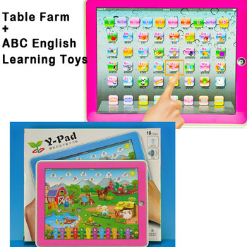 Free Shipping Y Pad ABC English Learning Toys and Table Farm 2 Styles Mixed ,Ypad With Pink & Blue,Music and Led Light,6PCS/Lot