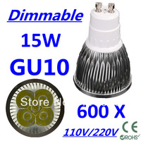 600pcs/lot CREE Dimmable LED High power GU10 5x3W 15W led Light led Lamp led Downlight led bulb spotlight Free FEDEX and DHL