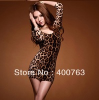 Top Sale 2014 New Arrival PARTY CREW NECK LEOPARD Summer Sexy MINI DRESS