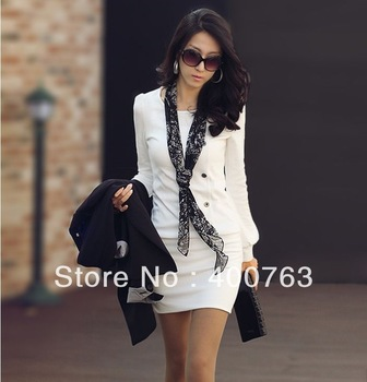 Top Sale Korean fall winter fashion new ladies OL round long-sleeved dress sexy skirts Primer shirt
