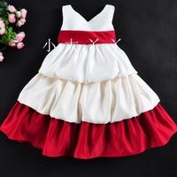 3 V-neck autumn one-piece dress layered dress princess dress female child tulle dress formal dress flower girl puff skirt