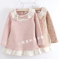 FREE SHIPPING Chee female child lace decoration dress basic skirt autumn and winter basic shirt