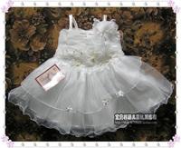Solid color spaghetti strap child princess dress one-piece dress tulle dress female child costume wedding dress female formal