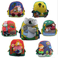Free shipping  High quality cute animal cartoon canvas backpack shoulder bag for kids children