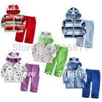 3sets-Kids autumn winter cartoon fleeces suits  jacket +pants children suit 332