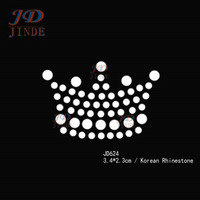 40pcs/lot Hotfix Rhinestone Design Transfers Iron On Small Crown Motif 1.3 Inches