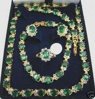 Beautiful Emerald Necklace /Bracelet/ Earring/ Ring set