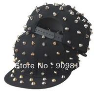 Free Shipping Plastic rivets hip-hop cap, Adjustable flat brimmed hat, Bboy caps, Snapback hats, 2 color 10pcs/lot
