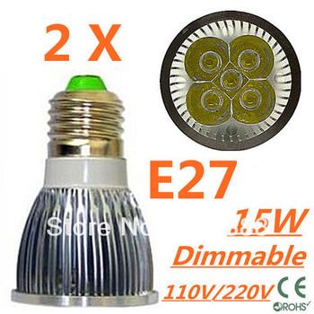 2pcs/lot CREE Dimmable LED High power E27 Base 5x3W 15W led Light led Lamp led Downlight led bulb spotlight Free shipping