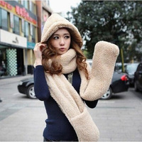 New lambs wool Double fabric Fashion Lovers hat scarf gloves three-piece suit