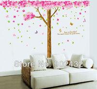 Free shipping New removable vinyl wall stickers 2pcs/set Sakura romantic home decor Giant wall decals 185*235cm JM7188
