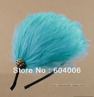Wholesale Free shipping 12pcs/lot NEW fashion color water blue feather hair hoop bride headdress with diamond women headband