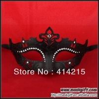 Free Shipping (48 Pcs/ Lot) Wholesale 100% Handpainted Halloween Solid Black Rhinestone Decorative Plastic Masquerade Mask