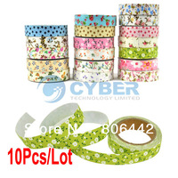 10Pcs/Lot DIY Flower Pattern Cloth Adhesive Tape Decorative Sticker Tape Stationery Free Shipping 8387