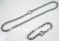 Wholesale And Retail Highly Polished Shining 316L Stainless Steel Heavy Pearl Rolo Chain Jewelry Sets Necklace Plus Bracelet