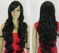 stylish long black curly Similar human made hair wig