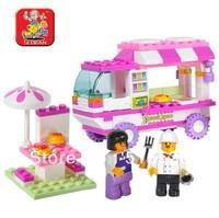 Original Box Sluban Pink Dream Series Snack Car Building Block Sets Enlighten Educational DIY Construction Brick toy M38-B0155